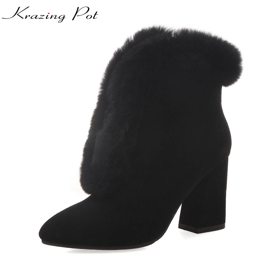 Krazing Pot 2018 cow suede real fur winter boots women superstar pointed toe high heels concise style fashion ankle boots L38 krazing pot cow suede real leather autumn winter pointed toe buckle thick high heels women office lady tassel ankle boots l05