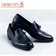 GRIMENTIN luxury brand classic loafer mens dress shoes genuine leather black slip on basic casual shoes mens flats wedding shoes