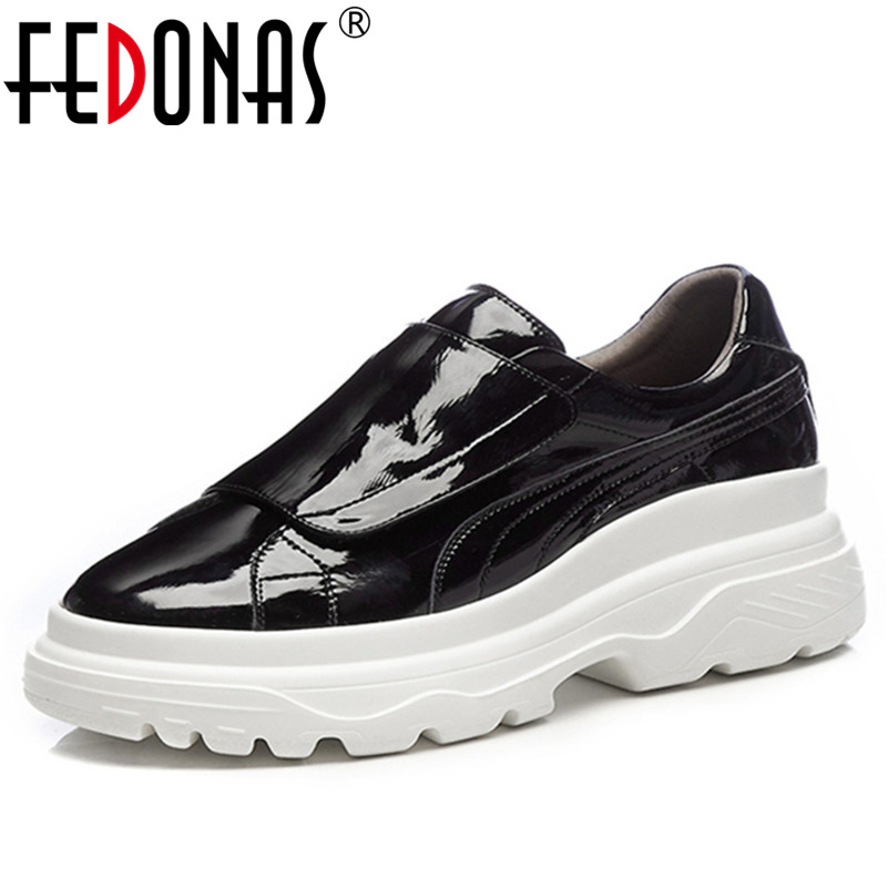 FEDONAS 1Fashion Women Platforms Flats Round Toe Casual Brand Design Sneakers Quality Spring Autumn Genuine Leather Shoes Woman цена 2017