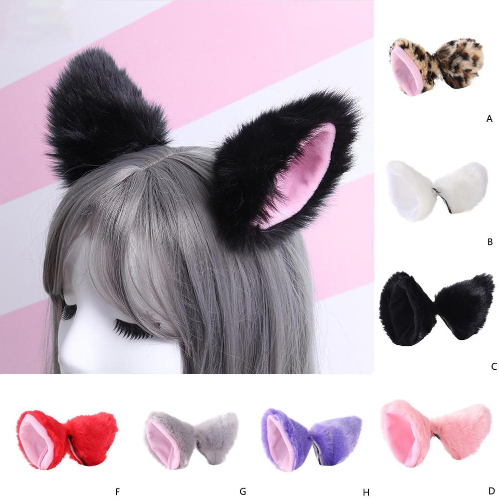 Muqgew Haarbanden Voor Party Hoofdbanden Vos Oor Hoofdband Haar Clip Pluche Kat Oren Haar Clip Barette Cheveux Fille # Y2
