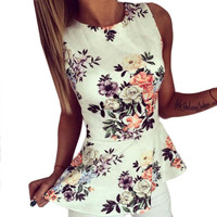 2016 Summer Women Floral Regular Sleeveless O Neck Cosy Blouse Summer Lady Shirts