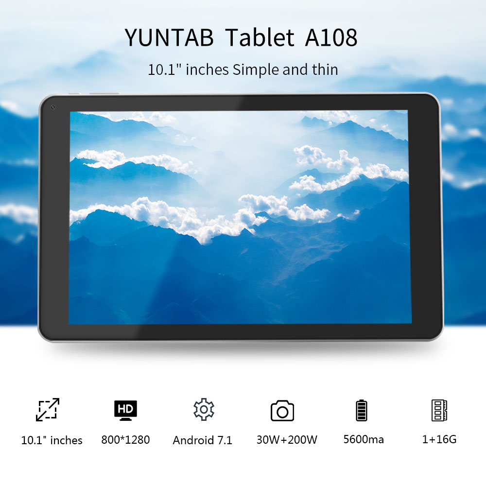 Yuntab 10.1 Inch Android 7.1 A108 Tablet PC Allwinner A64 Quad Core 1GB+16GB Touchscreen 800 *1280 With Dual Camera (Silver)