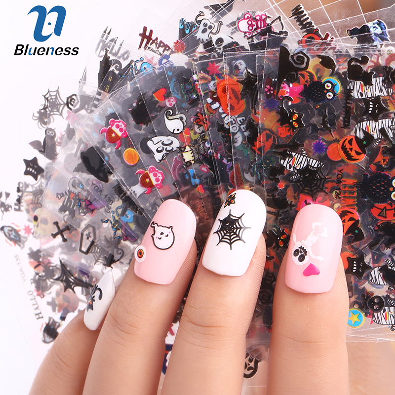24 Sheet Halloween Design Beauty Nail Art Nails Stickers Adhesive Transfer 3D Skull Pumpkin Decals For Tips Top Quality