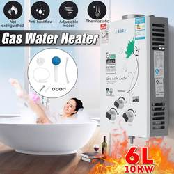 BECORNCE Multifuncitonal 10KW 6L Gas Tankless Water Heater Wall Mounted Hot Water Heater Thermostat Fast Heating Hot Shower