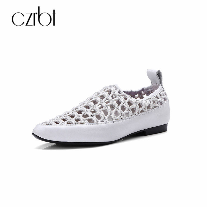CZRBT Women Flat Shoes Casual Loafers 2018 Summer Genuine Leather - Women's Shoes