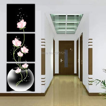 Hand made modern pink Flower Oil Painting vertical Wall Art Modern Abstract  Oil Painting On Canvas