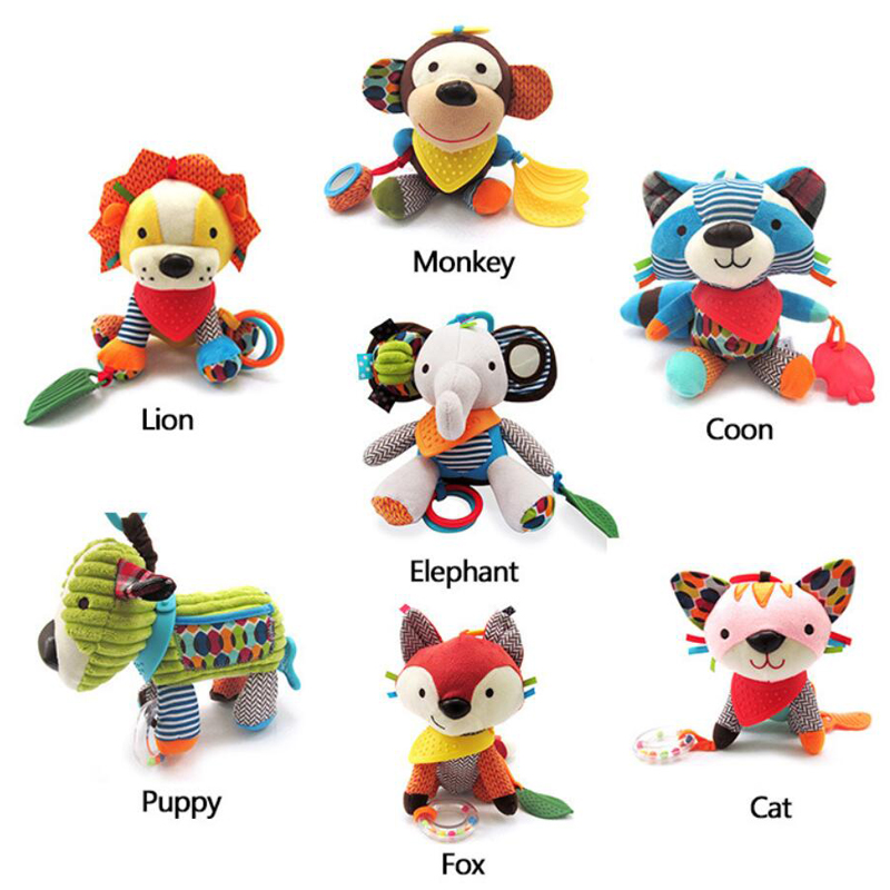 New Animal Style Baby Rattles Mobile Bed Molar Tooth Sticks Hanging Wind Chimes Ringing Hand Bell Baby Toys Rattle Toys 66cm baby toys bed hanging rattles toys white rattles bracket set infant mobile bed bell toy holder arm wind up music boxes toys