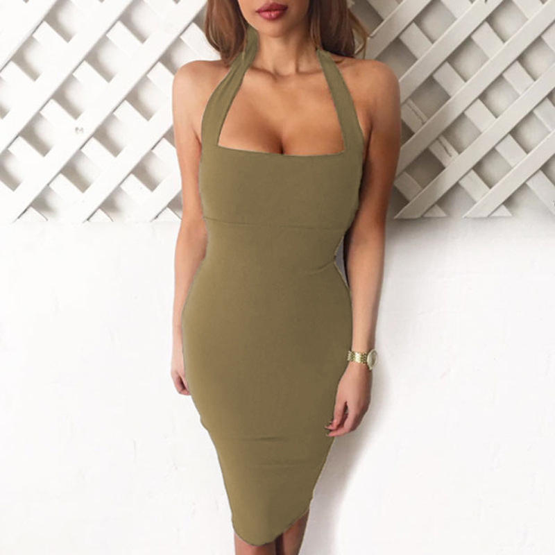 fb8db3dde42 2018 Women Sexy White Bodycon Bandage Dress Black Halter Strapless  Sleeveless Club Cotton Party Dresses