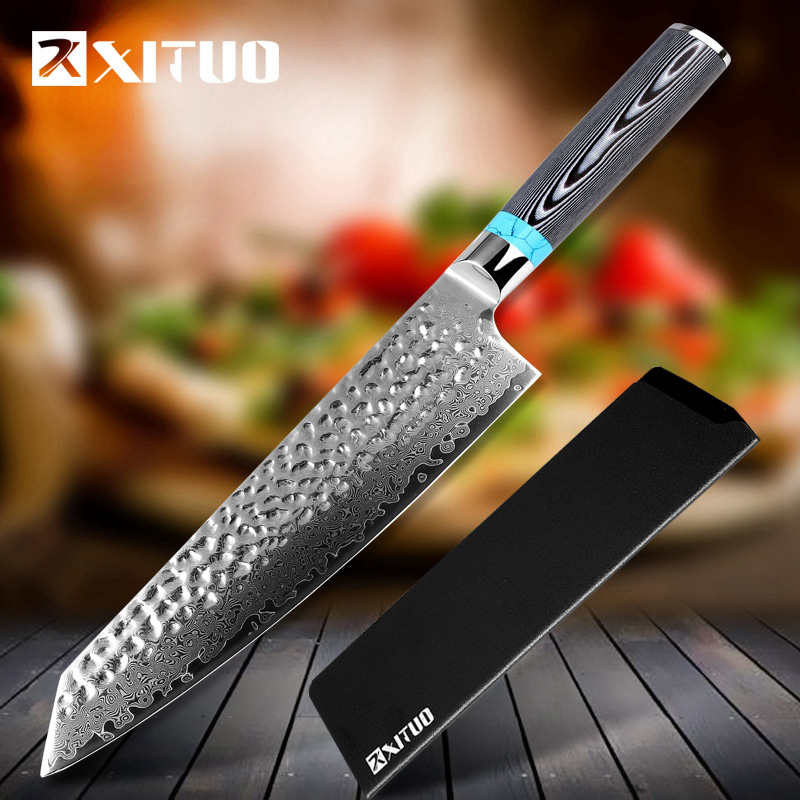 XITUO New Damascus Chef Knife 8 inch Hand Forged 67 Layers Japanese VG10 Blade Chef Kitchen
