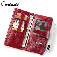 Contact's Long Clutch Wallet Card Holder Women Wallets Genuine Leather Coin Purse Woman Hasp Design Fashion Perse Portomonee