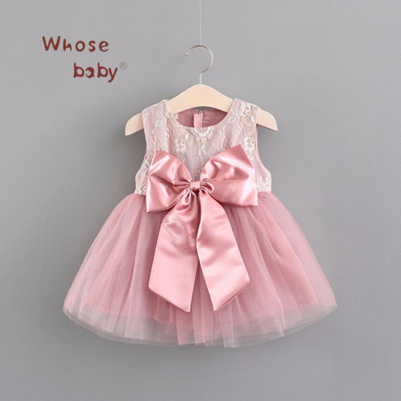 Baby Clothing Dress Bow Lace Dresses for Girls Sleeveless Vestido Infantil Summer Clothes FirstBirthday Girl Party Baptism Baby
