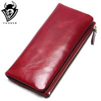2018 New 100 Genuine Oil Leather Clutch Women Wallet Portable Multifunction Long Wallets Lady Coin Purses
