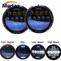 Marlaa For Lada 4x4 Urban Niva Nissan 135W Blue Projector Lens 7inch LED Headlights Kit For