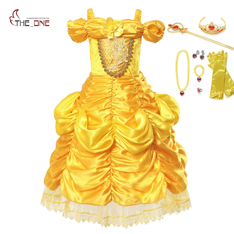 MUABABY Girls Belle Dress up Fantasy Shoulderless Beauty and The Beast Princess Costume Kids Halloween Cosplay Party Ball Gown girls beauty and the beast cosplay ball grown kids party halloween fancy dress up outfits girls tutu full length sparkle dress
