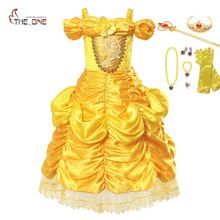 MUABABY Meninas Shoulderless Beauty and The Beast Belle Dress up Fantasia Princesa Traje Crianças Halloween Cosplay Partido vestido de Baile(China)