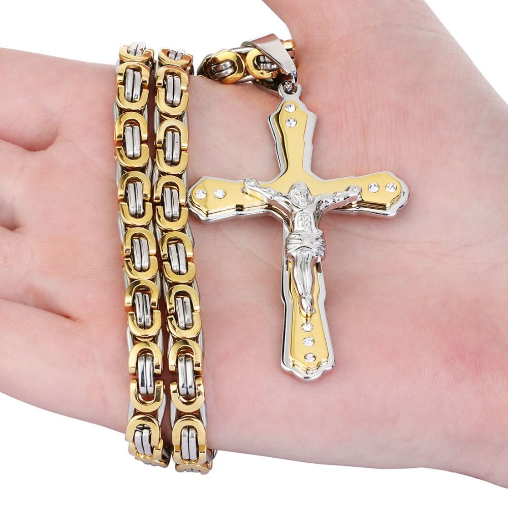 Stainless Steel Pendant Necklace Byzantine Link Chain Crystals Cross ...