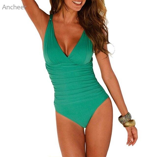 Новый бренд бикини 2018 женский v-образный вырез Ruched цельный купальник большой размер Мягкий купальник плюс размер женские купальные костюмы женщина 4XL