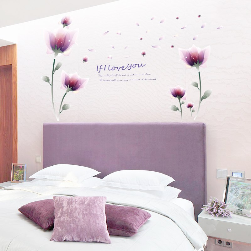 Beautiful flower living room bedroom background removable - Beautiful wall stickers for living room ...