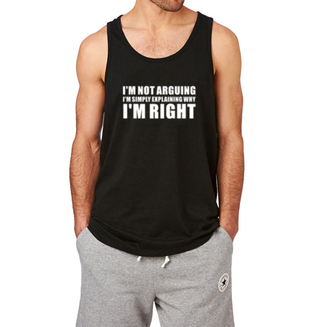 03be8fc5ef468d Mens I m Not Arguing Funny Slogan Workout Fitness Casual Tank Tops ...