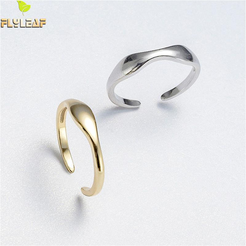 Flyleaf Simple Wave Stackable Gold 925 Sterling Silver Rings For Women Student High Quality Fashion Fine Jewelry Femme Open Ring