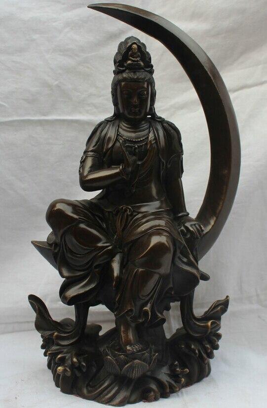 15 Chinese Buddhism Bronze Seat Moon Kwan-Yin Guan Yin Goddess Flower Statue15 Chinese Buddhism Bronze Seat Moon Kwan-Yin Guan Yin Goddess Flower Statue