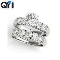 QYI 18 К Золотое кольцо для женщин Sona Diamond 1 карат обручальное кольцо ювелирные украшения