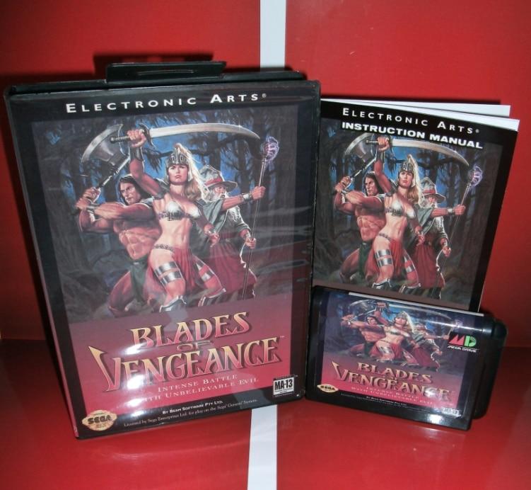 Sega tarjeta de juegos de Cuchillas de Venganza con Caja y Manual para Sega Mega