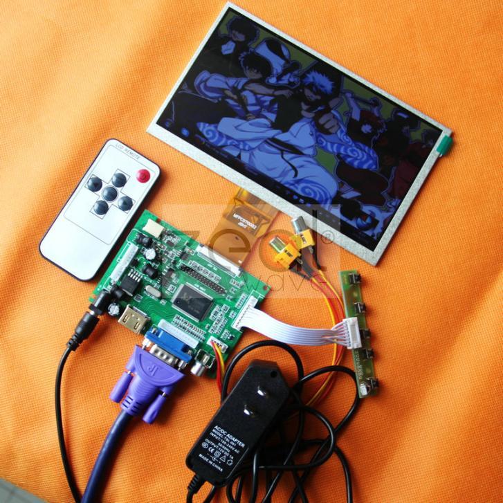 7inch 800*480 LCD Display 165*100mm + HDMI/VGA/2AV+Reversing Driver Board+DC 12V1A Power Supply $ a 7inch 100