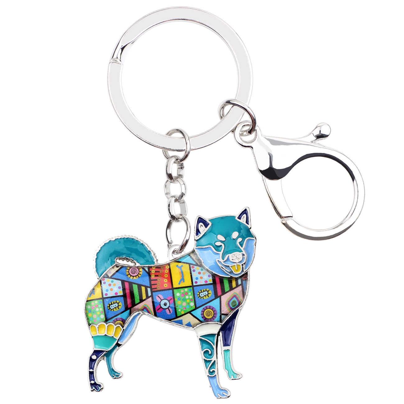 Bonsny Kim Loại Shiba Inu Chìa Khóa Vòng Chìa Khóa Túi Quyến Rũ Men Dog Keychain Phụ Kiện Lưu Niệm Thời Trang Animal Trang Sức Cho Nữ