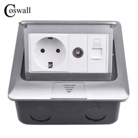 Coswall All Aluminum Panel 16A EU Standard Pop Up Floor Socket Electrical Outlet With TV and RJ45 Internet Data Computer Jack