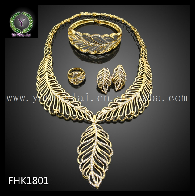 Italian Gold Color Plated Jewelry Sets Leaf shaped Jewelry Sets