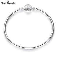 New Authentic 925 Sterling Silver Charm Bead Dainty Bow Clip Clear Crystal Moments Bangles Bracelets Fit