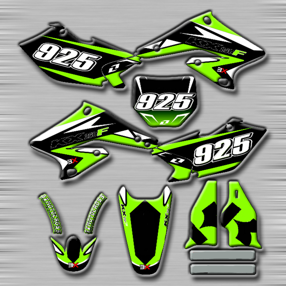 Customized Graphics Background Decals Stickers Kits For Kawasaki KX125 KX250 KX250F KX450F KLX250 KLX450 DRZ400 DRZ400SM