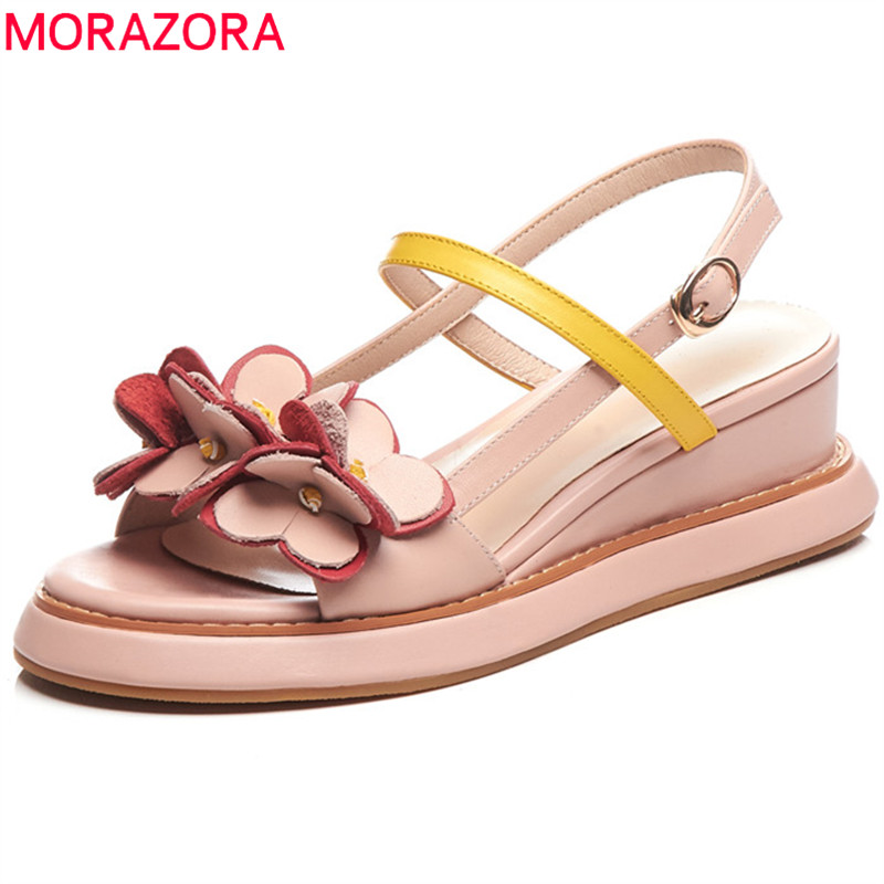 MORAZORA 2019 new arrival genuine leather shoes women sandals buckle flower summer beach shoes woman wedges