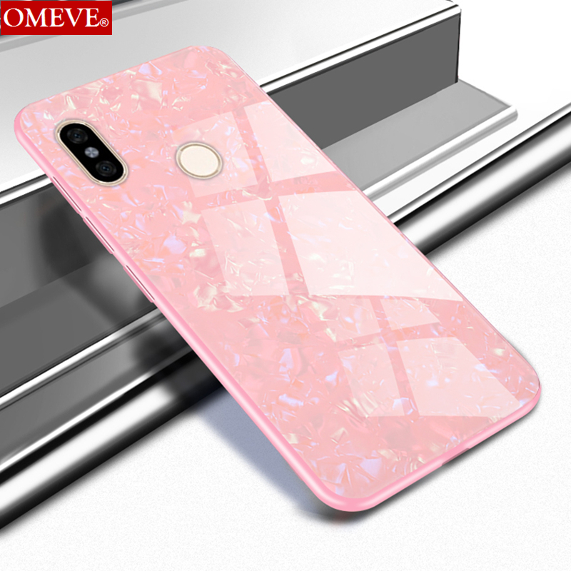 OMEVE Bling Shell for Xiaomi Redmi Note 5 Case Note5 Pro Cover Soft TPU Bumper Tempered Glass Back Cover for Redmi 5 Plus Armor