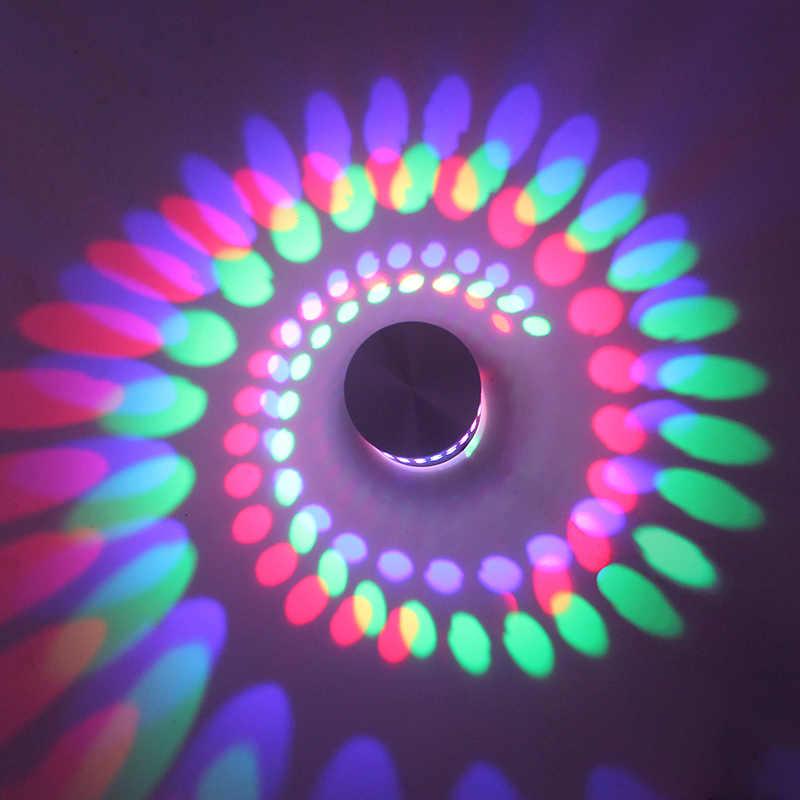 Multicolorido de alumínio moderno 3 w led espiral arandela iluminação luminosa para o quarto foyer tv sala decorativa luminária parede