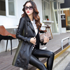 New Arrivals Autumn Long Faux Leather Coats Turn Down Collar Long Sleeve Sashes Zipper Fashion Women