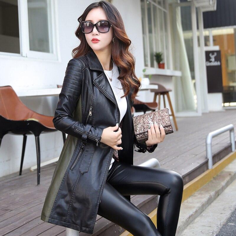 Nouveautés automne à manches longues patchwork pu en cuir de base vestes ceintures fermetures à glissière de mode femmes tranchée manteau faux vestes en cuir