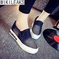 Wikileaks 2016 Mulheres Outono Casual Altura Crescente Sapatos de Caminhada Mulher Lace-Up Plano Com Barato Estudante Shoes Zapatos Mujer