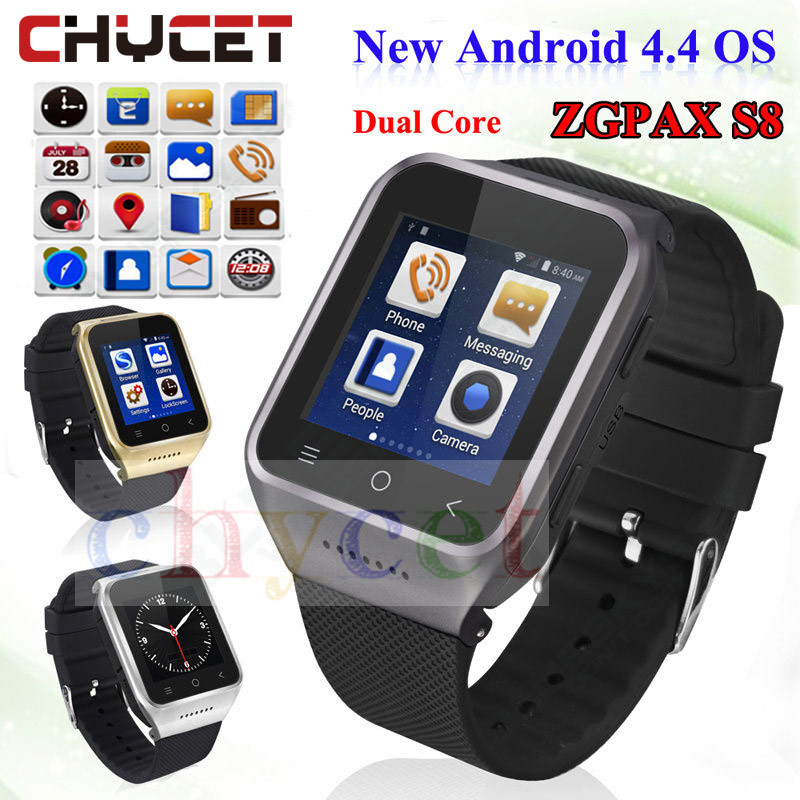 Original ZGPAX S8 Smart watch Bluetooth Wifi GPS Android 4.4 Support Sim TF Card With 2.0MP Camera SmartWatch For Men watches