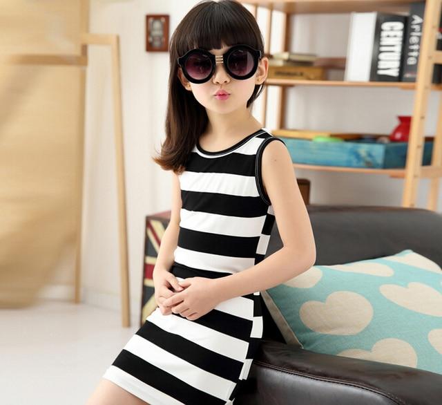 9261f83e3ccb New fashion children s girls wear black and white stripes of summer ...