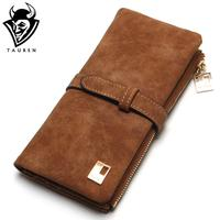2015 New Fashion Women Wallets Drawstring Nubuck Leather Zipper Wallet Women S Long Design Purse Two