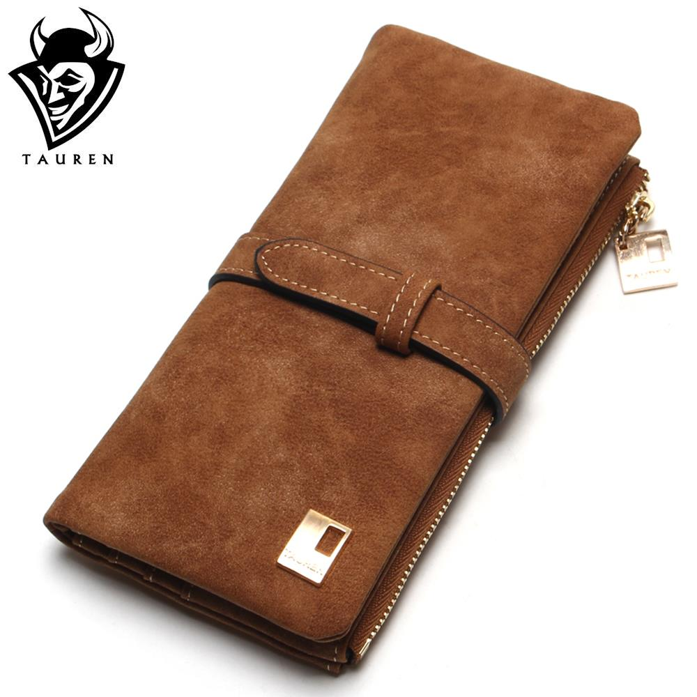 New Fashion Women Wallets Drawstring Nubuck Leather Zipper Wallet Women s Long