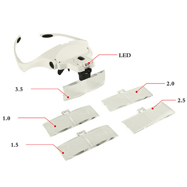Hot Selling Headhand Led Lamp With Magnifier For Makeup/tattoo/grafting Eyelash