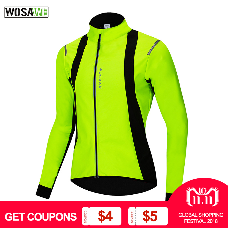 WOSAWE Fleece Thermal Cycling Jacket Winter Warm Up MTB Bike Jerseys Reflective Bicycle Windproof Windbreaker Coat eeda men sports waterproof windproof reflective breathable bike bicycle jersey winter fleece thermal cycling wind coat jacket