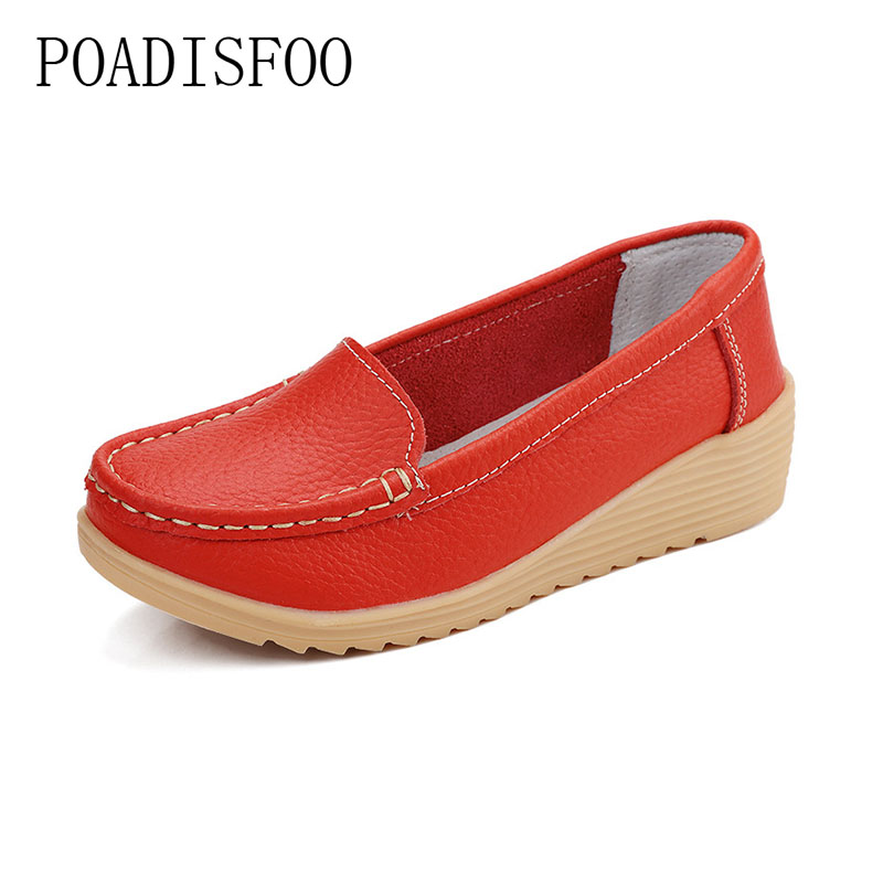 2017 Genuine leather Wedge Cow Leather shoes For women fashion Slip-on Casual shoes Driver shoes for Women Orange shoes .CQY-987