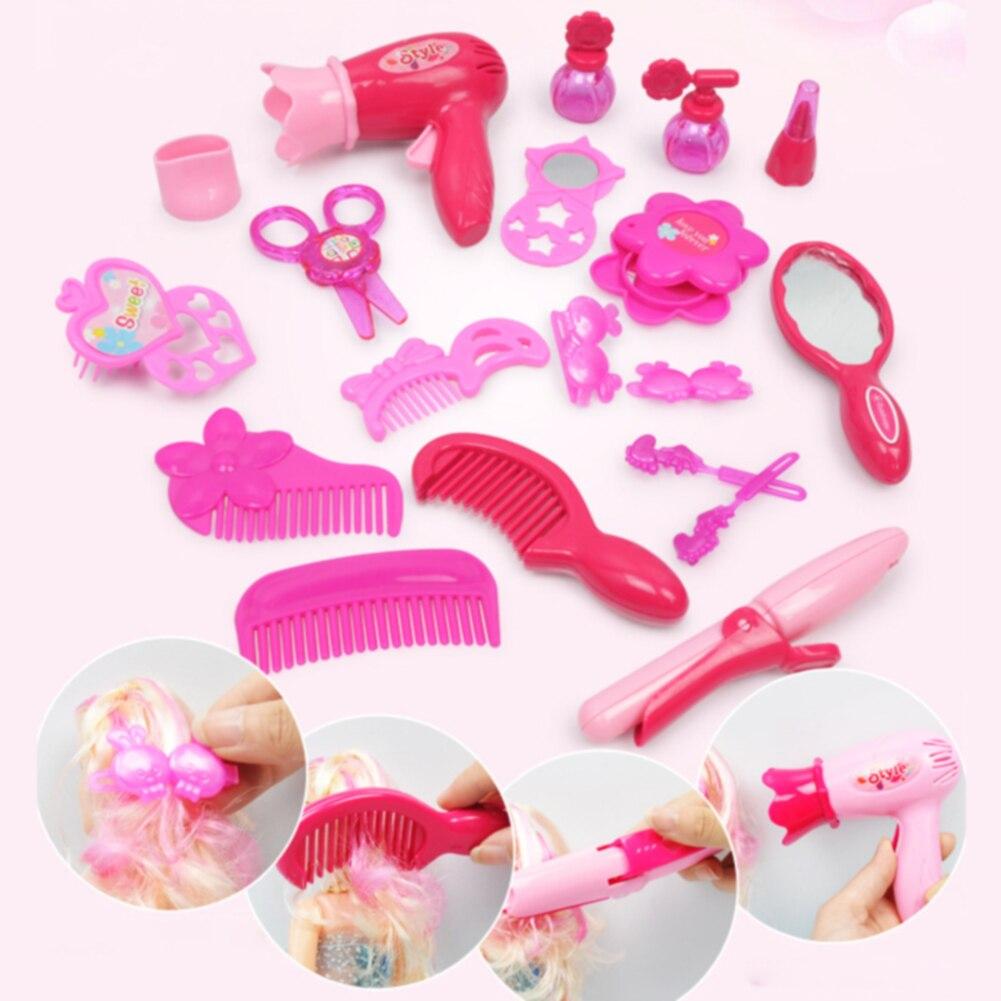 100% QualitäT Für Kinder Friseur Make-up Mode Pretend Spielen Kosmetik Kit Spielzeug Dressing Zimmer Schmuck Mädchen Simulation Haar Trockner Hause SorgfäLtige FäRbeprozesse