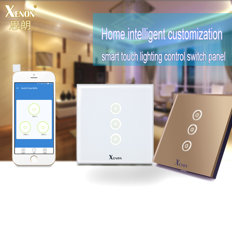 Smart home Auto Xenon Wall Switch 110~240V Smart Wi-Fi Switch button Glass Panel 1gang 2gang 3-gang EU Touch Light Switch panel manufacturer xenon wall switch 110 240v smart wi fi switch button glass panel 1 gang ivory white eu touch light switch panel