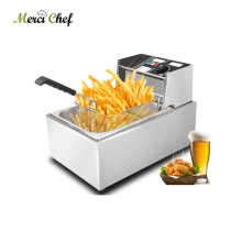ITOP Food Processor 8L Electric Deep Fryer 110V/220V Stainless Steel Frying Machine Commercial Or Home Use Fryer With Basket electric 6l fryer commercial home use french fries commercial 2000w stainless steel countertop deep fryer single tank basket