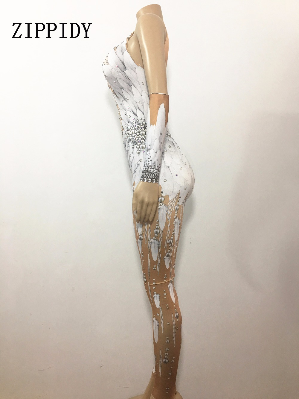 3cba653bfb9 2019 Crystals Wings Angel Jumpsuit White Feather 3D Printed Bodysuit ...
